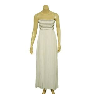8400 Free People Embroidered White Maxi Dress XS